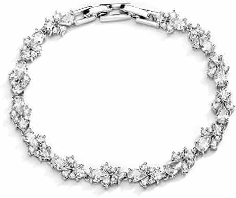 1b8335691 Mariell CZ Wedding Bridal & Prom Tennis Bracelet for Women, Silver Platinum  Plated, ...