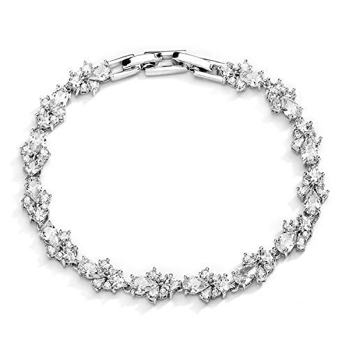 Mariell CZ Wedding Bridal & Prom Tennis Bracelet for Women, Silver Platinum Plated, 7