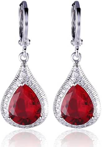 GULICX Unique Silver Tone Sapphhire-Color Rhinestone Wedding Party Women Charm Dangle Earrings