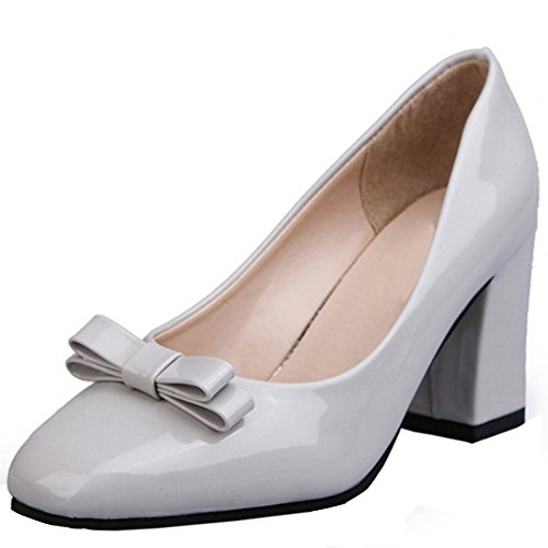 COOLCEPT Mujer Clasico Sin Cordones Tacon alto Bombas Zapatos With Bowknot Gris