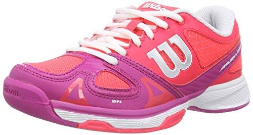 Wilson RUSH PRO JUNIOR - Zapatillas de tenis infantil Rojo / Rosa / Blanco