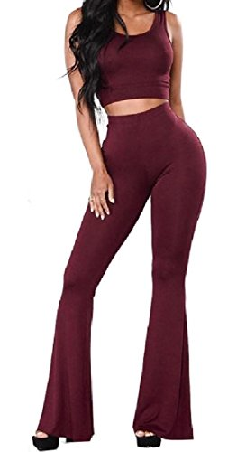 Abetteric Women Crop Solid High Waisted Sexy Weekend Bell Bottom Pants Vest Set Wine Red XS