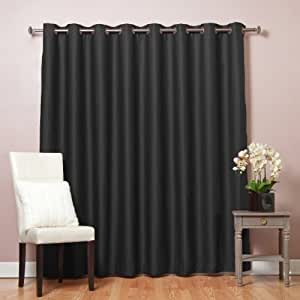 """Best Home Fashion Wide Width Thermal Insulated Blackout Curtain - Antique Bronze Grommet Top - Black - 100""""W x 84""""L - (1 Panel)"""