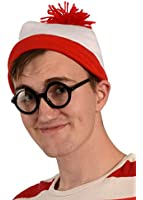 Kangaroo's Red And White Beanie Hat With Nerd Glasses