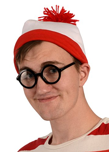 Kangaroos Red And White Beanie Hat With Nerd Glasses