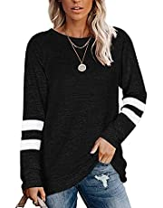 onlypuff Womens T Shirts V Neck Striped Short Sleeve Color Block Tops Casua Summer Tunic Loose Fit