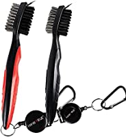 2 Pack Golf Club Brush Groove Cleaner, Dual Sided Nylon and Steel Brush with Spike Ergonomic Design Retractabl