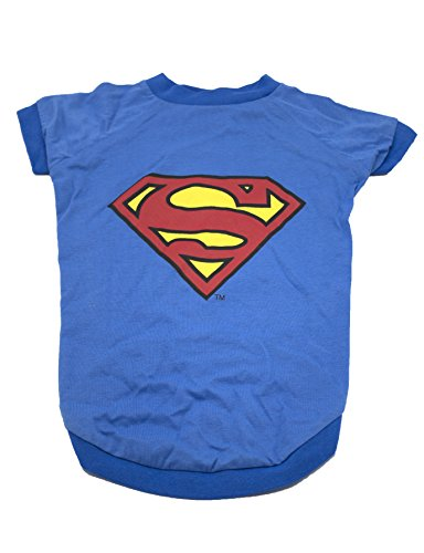 DC Comics Superman Logo Dog Tee | Superhero Costume for Dogs, X-Small, Royal -