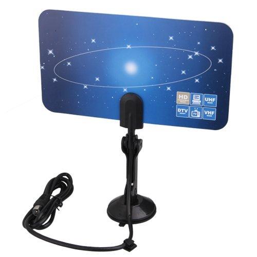 SODIAL(R) Digital Indoor TV Antenna HDTV DTV HD VHF UHF Flat Design High Gain US Plug 039359
