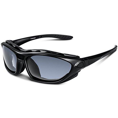 Sports Sunglasses Polarized For Men Women Motorcycle Glasses Youth Baseball Safety Military Bike Fishing Softball Goggles (Black)