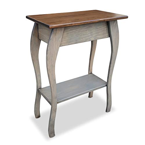 Slim Wooden End Table Amish Furniture Thin Narrow Side Tables for Living Room, Hallway, or Nightstand Pewter