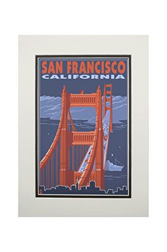 San Francisco, California - Golden Gate Bridge (11x14 Double-Matted Art Print, Wall Decor Ready to Frame)