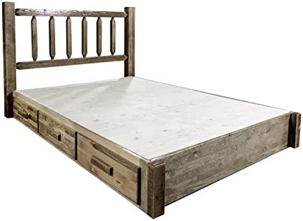 Montana Woodworks Homestead Collection Twin Platform Bed with Storage, Stain Lacquer Finish