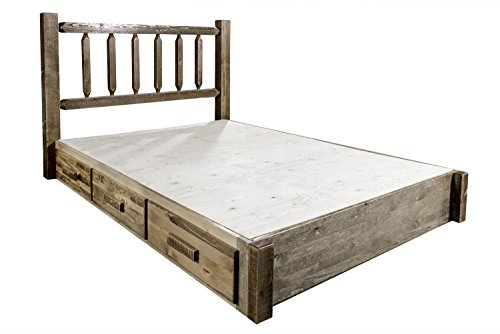 Montana Woodworks MWHCSBPKSL Homestead Collection King Platform Bed with Storage, Stain & Lacquer Finish ()