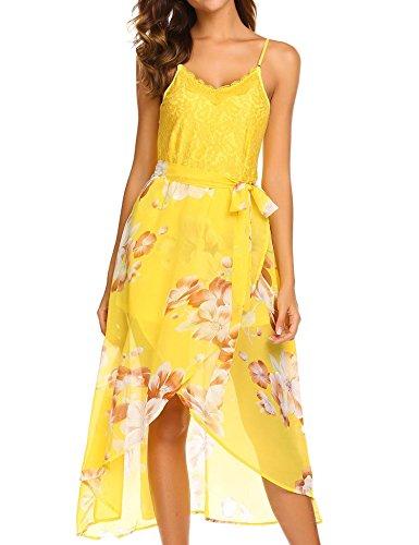 ELESOL Women Summer Spaghetti Strap Lace Sundress Floral Print High Waist Dress Floral Lace Sundress