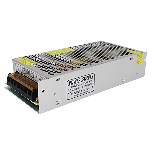 NeeKeons AC 110V-240V To DC 12V 16.7A(200W) Switching Power Supply Regulated Power Transformer Adapter for Industrial Automation, LED Strips,CCTV,Radio, Computer(12V16.7A)