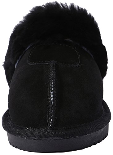 Women's House for lite Slipper Winter Warm Women Wool Suede Shearling Cozy Sheepskin Warm Slippers Black U Suede Wool qUw1588O