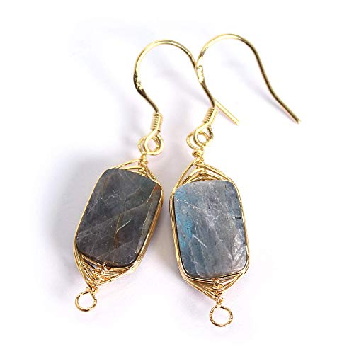 Labradorite Stone Earrings 14K Gold Plated Sterling Silver Hook Square 12mm Pendant Dangle Drop Earrings