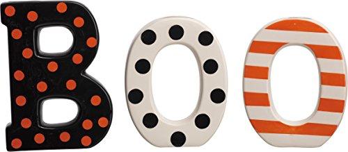 (Boo Polka Dot Stripe 8 x 6 inch Ceramic Dolomite Halloween Table Top Sign Set of)