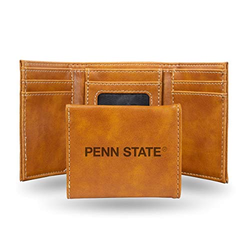 Rico Industries NCAA Penn State Nittany Lions Laser Engraved Tri-Fold Wallet, Brown