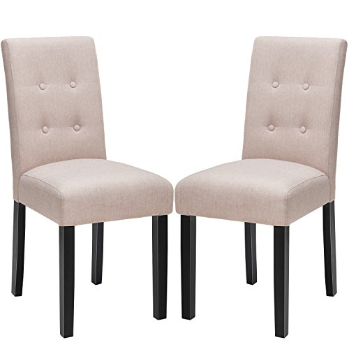 Harper & Bright Designs Dining Chairs Button Tufted Kitchen Parson Chairs with Solid Wood Legs, Set of 2 (beige)