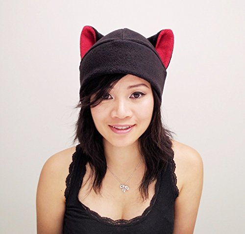 Black Cat Ear Hat Toque Beanie Feline Kitty Kitten Fleece Anime Manga Ski Snowboarding Convention Goth Punk Rave Costume Cosplay Halloween cat Christmas Gift