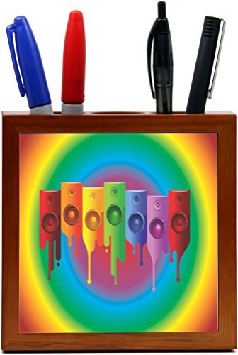 Rikki Knight Colored Speakers on Radial Rainbow Design  Inch Tile Wooden Tile Pen Holder Radial Tile