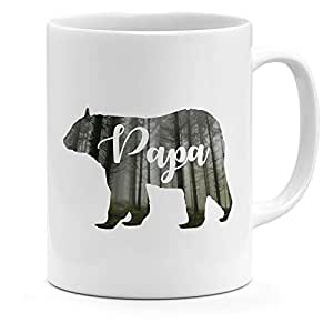 Loud Universe Ceramic Wood Silhouette Papa Bear Mug, White