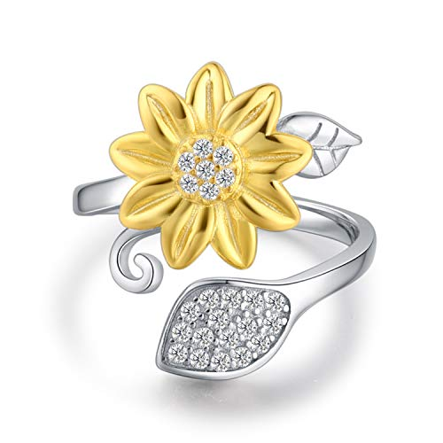 BEILIN Sunflower Ring for Women S925 Sterling Silver You are My Sunshine Adjustable Wrap Open Rings Size 5 6 7 8 9 (6)