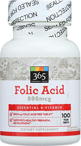 365 Everyday Value, Folic Acid 800mcg, 100 ct (Acid Folic Supplements)