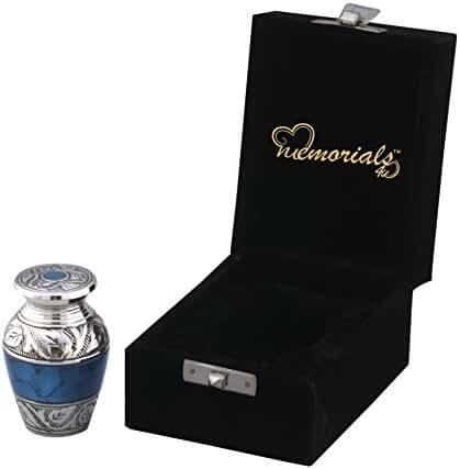 Mediterranean Mystic Keepsake Urn - Forever Remembered Blue Keepsake Urn With Fancy Box - Blue Token Urns - Keepsake Cremation Urn - Handcrafted Mini Urn for Ashes