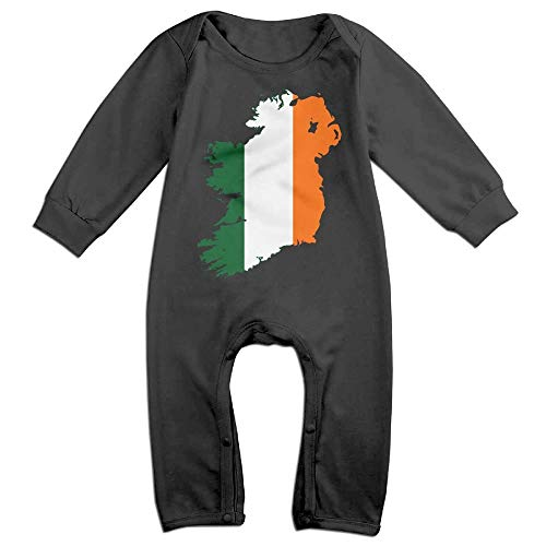 Baby Boy Coverall Flag Map of United Ireland Baby Rompers Black -