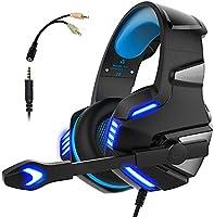 Audífonos Gamer con Micrófono para PS4 Xbox One PC, Diadema Auriculares Alámbrico Estéreo para Juegos Cancelación de...