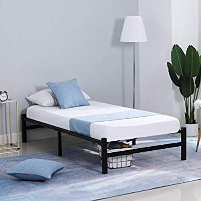 """GreenForest 14"""" Metal Platform Bed Frame with Heavy Duty Slats Mattress Foundation No Box Spring Needed"""