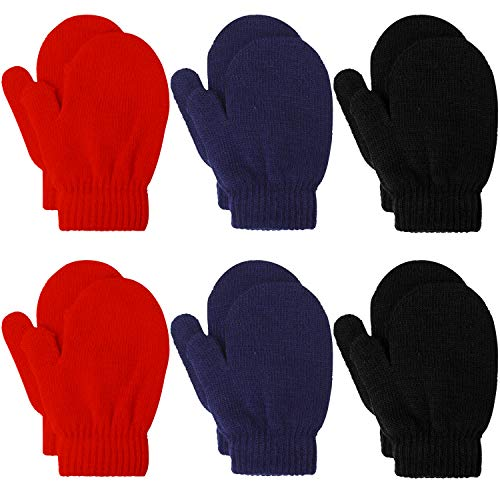 Coobey 6 Pairs Toddler Magic Stretch Mittens Winter Unisex Baby Knitted Gloves Mittens (Mixed Color K, 2-4 Years)