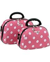 2 Piece Cosmetic Set Pink/White Dot