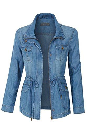 FASHION BOOMY Womens Zip Up Military Anorak Jacket W/Hood (Small, Tencel_Denim)