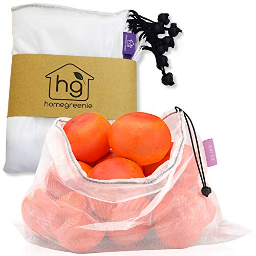 Reusable Produce Bags   Bulk Set of 9   Keeps Vegetables Fresh   Made of See Through Mesh Polyester