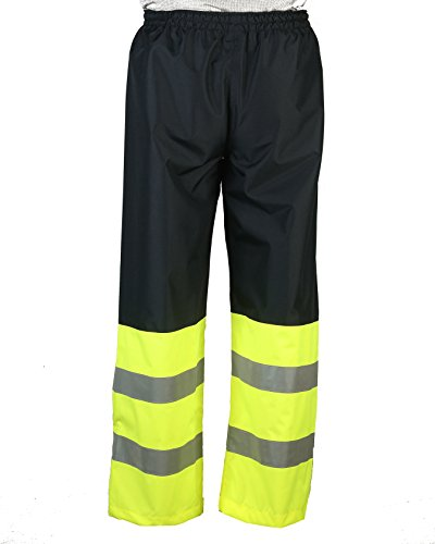 Safety Depot Two Tone Lime Yellow Black Reflective Class E Safety Draw String Pants Water Resistant High Visibility and Light Weight 737c-3 (2XL) by Safety Depot (Image #1)