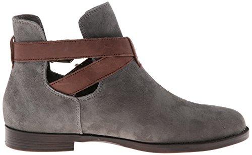 Bella Vita Womens Raine Leather Boot Gravel Kid Suede/Dark Brown Leather
