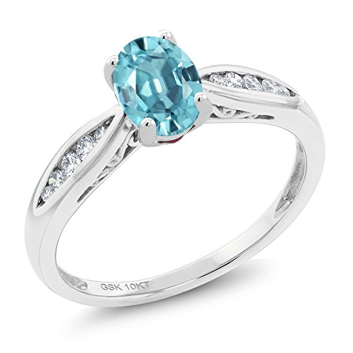Gem Stone King 10K White Gold 1.27 Ct Oval Blue Zircon and Diamond Engagement Ring (Size 7)