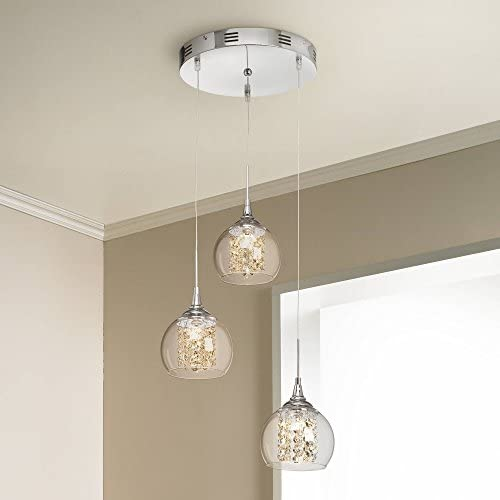 Encircled Crystal Chrome Multi Light Pendant Chandelier 12 Wide Modern Clear Glass 3-Light Fixture for Dining Room House Foyer Kitchen Island Entryway Bedroom Living Room – Possini Euro Design