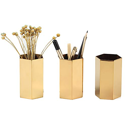 - Pahdecor Gold Brass Pen Pencil Cup Holder Desktop Organizer,Vintage Geometric Table Vases Storage Container for Home Decor,Single (Gold)