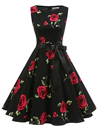 Gardenwed Women's Audrey Hepburn Rockabilly Vintage Dress 1950s Retro Cocktail Swing Party Dress Black Rose 3XL