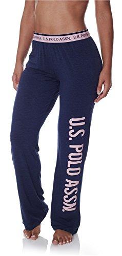 (US Polo Assn. Womens Super Soft Casual Lounge/Sleepwear Long Pajama Pant Tribal Navy Heather Medium)