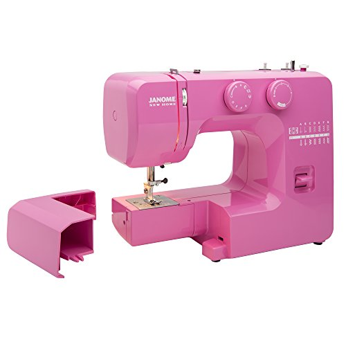 Janome Pink Sorbet Easy-to-Use Sewing Machine with Interior Metal Frame, Bobbin Diagram, Tutorial Videos, Made with Beginners in Mind!