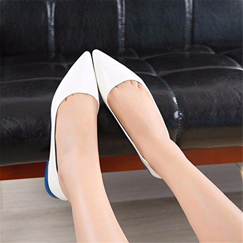 Bianco Sandali A Caramello Piatto Tacco Qiyun Scarpe Vernice Elegante Color Party Pelle Punta z In Donna wBfqUZag