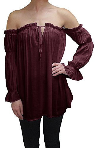 Anna-Kaci Womens Semi Sheer Boho Peasant Long Sleeve Off the Shoulder Top, Burgundy, Large