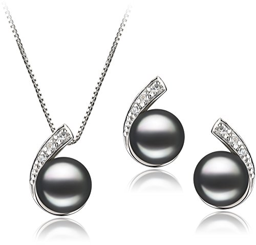 PearlsOnly - Claudia Black 7-8mm AA Quality Freshwater 925 Sterling Silver Cultured Pearl Set by PearlsOnly