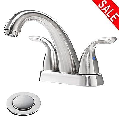 Phiestina Brushed Nickel Stainless Steel Bathroom Lavatory Vanity Basin Vessel Sink Faucet, Brushed Nickel Bathroom Faucet Without Drain and Water lines